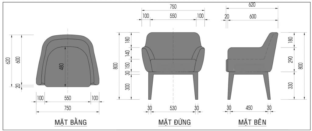 Kích thước ghế sofa đơn bằng gỗ