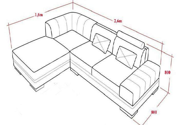 Kích thước ghế sofa gỗ chữ L